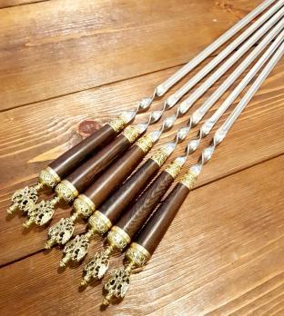 Шампура подарочные «РОССИЯ» с деревянной ручкой венге