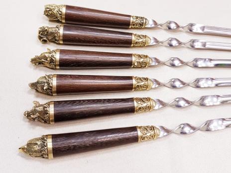 Шампура с деревянной ручкой подарочные ПИКНИК ВЕНГЕ