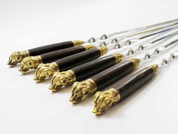 Шампура подарочные «ЛАБРАДОР» с деревянной ручкой