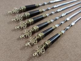 Шампура подарочные «Якорь» с деревянной ручкой венге